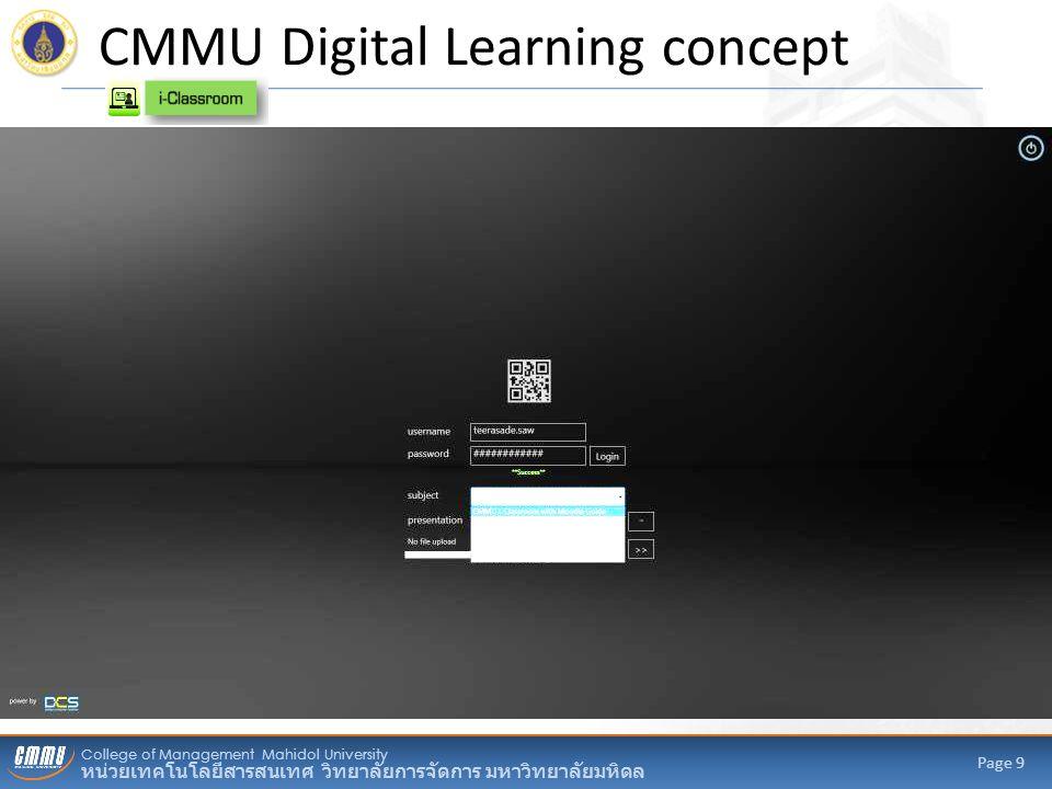 College of Management Mahidol University หน่วยเทคโนโลยีสารสนเทศ วิทยาลัยการจัดการ มหาวิทยาลัยมหิดล Page 9 CMMU Digital Learning concept