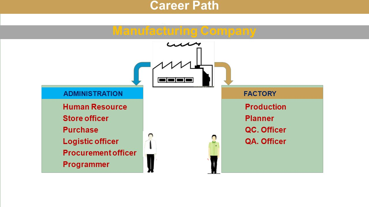 Career Path Manufacturing Company Purchase Human Resource Store officer Logistic officer Procurement officer Programmer ADMINISTRATION FACTORY Planner Production QC.