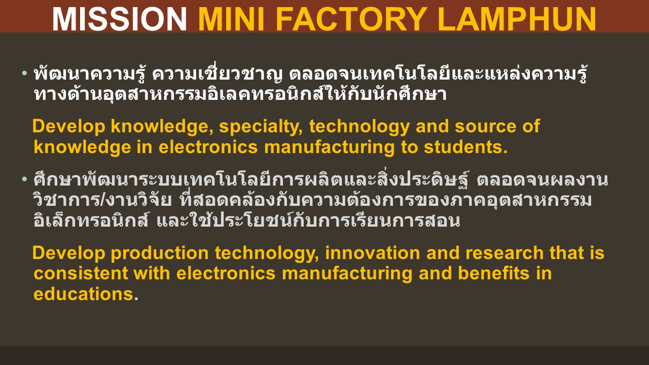 MINI FACTORY LAY OUT