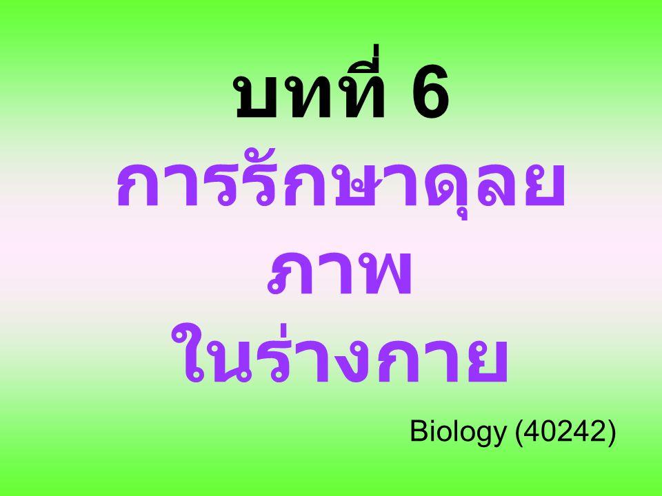 บทที่ 6 การรักษาดุลยภาพใน ร่างกาย 6.1 ระบบหายใจกับการรักษาดุลยภาพของร่างกาย –6.1.1 โครงสร้างที่ใช้ในการแลกเปลี่ยนแก๊สของสิ่งมีชีวิต เซลล์เดียวและของสัตว์ –6.1.2 โครงสร้างที่ใช้ในการแลกเปลี่ยนแก๊สของคน 6.2 ระบบขับถ่ายกับการรักษาดุลยภาพของร่างกาย –6.2.1 การขับถ่ายของสิ่งมีชีวิตเซลล์เดียว –6.2.2 การขับถ่ายของสัตว์ –6.2.3 การขับถ่ายของคน 6.3 ระบบหมุนเวียนเลือด ระบบน้ำเหลืองกับการรักษา ดุลยภาพของร่างกาย –6.3.1 การลำเลียงสารในร่างกายของสิ่งมีชีวิตเซลล์เดียว และของสัตว์ –6.3.2 การลำเลียงสารในร่างกายของคน –6.3.3 ระบบน้ำเหลือง
