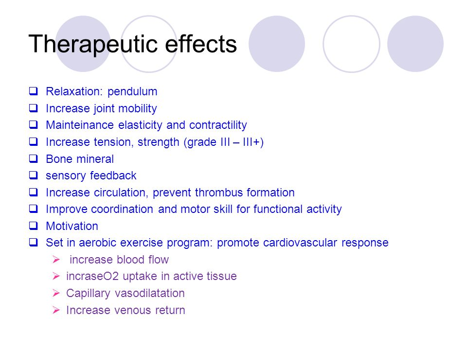 Therapeutic effects  Relaxation: pendulum  Increase joint mobility  Mainteinance elasticity and contractility  Increase tension, strength (grade III – III+)  Bone mineral  sensory feedback  Increase circulation, prevent thrombus formation  Improve coordination and motor skill for functional activity  Motivation  Set in aerobic exercise program: promote cardiovascular response  increase blood flow  incraseO2 uptake in active tissue  Capillary vasodilatation  Increase venous return