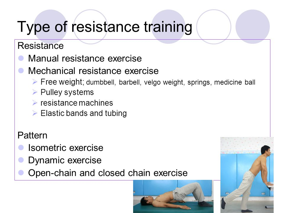 Type of resistance training Resistance Manual resistance exercise Mechanical resistance exercise  Free weight; dumbbell, barbell, velgo weight, springs, medicine ball  Pulley systems  resistance machines  Elastic bands and tubing Pattern Isometric exercise Dynamic exercise Open-chain and closed chain exercise