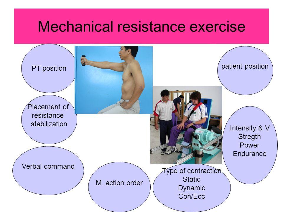Mechanical resistance exercise patient position Placement of resistance stabilization PT position Verbal command M.