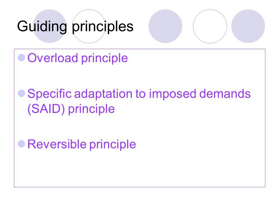 Guiding principles Overload principle Specific adaptation to imposed demands (SAID) principle Reversible principle