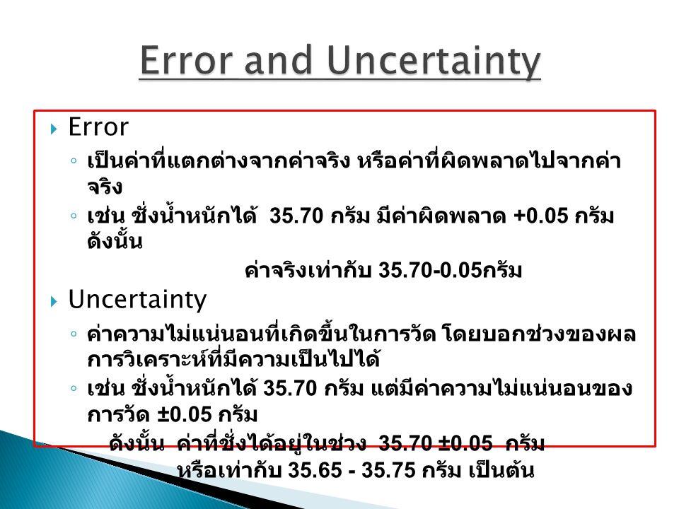  Error ◦ เป็นค่าที่แตกต่างจากค่าจริง หรือค่าที่ผิดพลาดไปจากค่า จริง ◦ เช่น ชั่งน้ำหนักได้ 35.70 กรัม มีค่าผิดพลาด +0.05 กรัม ดังนั้น ค่าจริงเท่ากับ 35.70-0.05 กรัม  Uncertainty ◦ ค่าความไม่แน่นอนที่เกิดขึ้นในการวัด โดยบอกช่วงของผล การวิเคราะห์ที่มีความเป็นไปได้ ◦ เช่น ชั่งน้ำหนักได้ 35.70 กรัม แต่มีค่าความไม่แน่นอนของ การวัด ±0.05 กรัม ดังนั้น ค่าที่ชั่งได้อยู่ในช่วง 35.70 ±0.05 กรัม หรือเท่ากับ 35.65 - 35.75 กรัม เป็นต้น