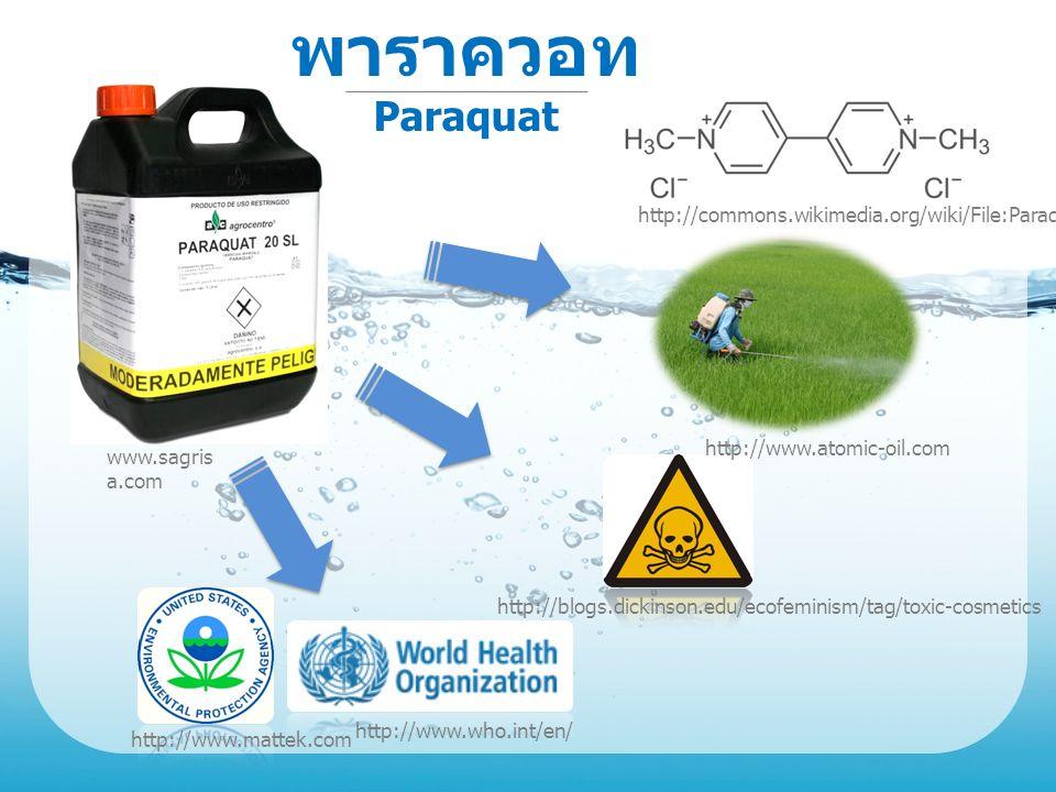 พาราควอท Paraquat http://www.atomic-oil.com http://blogs.dickinson.edu/ecofeminism/tag/toxic-cosmetics http://commons.wikimedia.org/wiki/File:Paraquat.svg http://www.mattek.com http://www.who.int/en/ www.sagris a.com