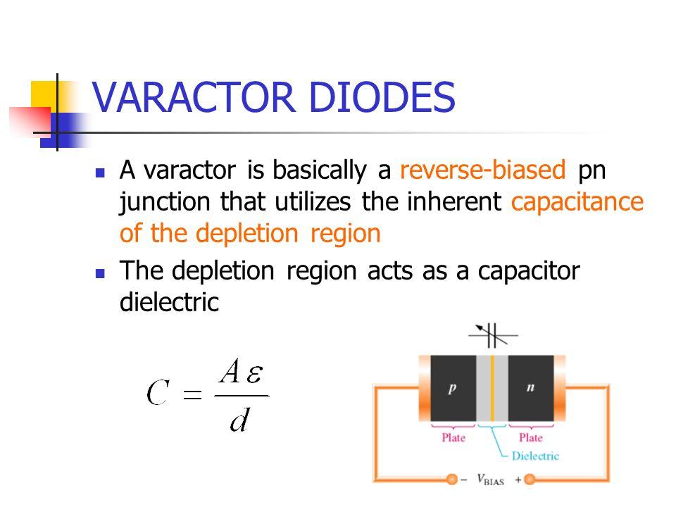 VARACTOR DIODES A varactor is basically a reverse-biased pn junction that utilizes the inherent capacitance of the depletion region The depletion regi