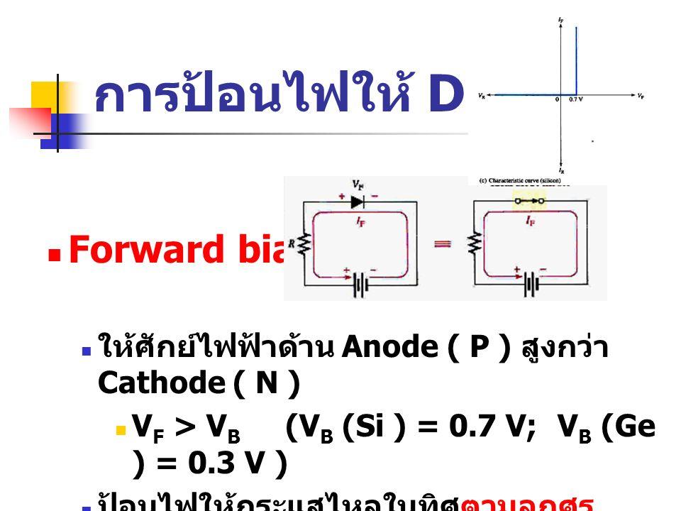 การป้อนไฟให้ Diode Forward bias: ให้ศักย์ไฟฟ้าด้าน Anode ( P ) สูงกว่า Cathode ( N ) V F > V B (V B (Si ) = 0.7 V;V B (Ge ) = 0.3 V ) ป้อนไฟให้กระแสไห