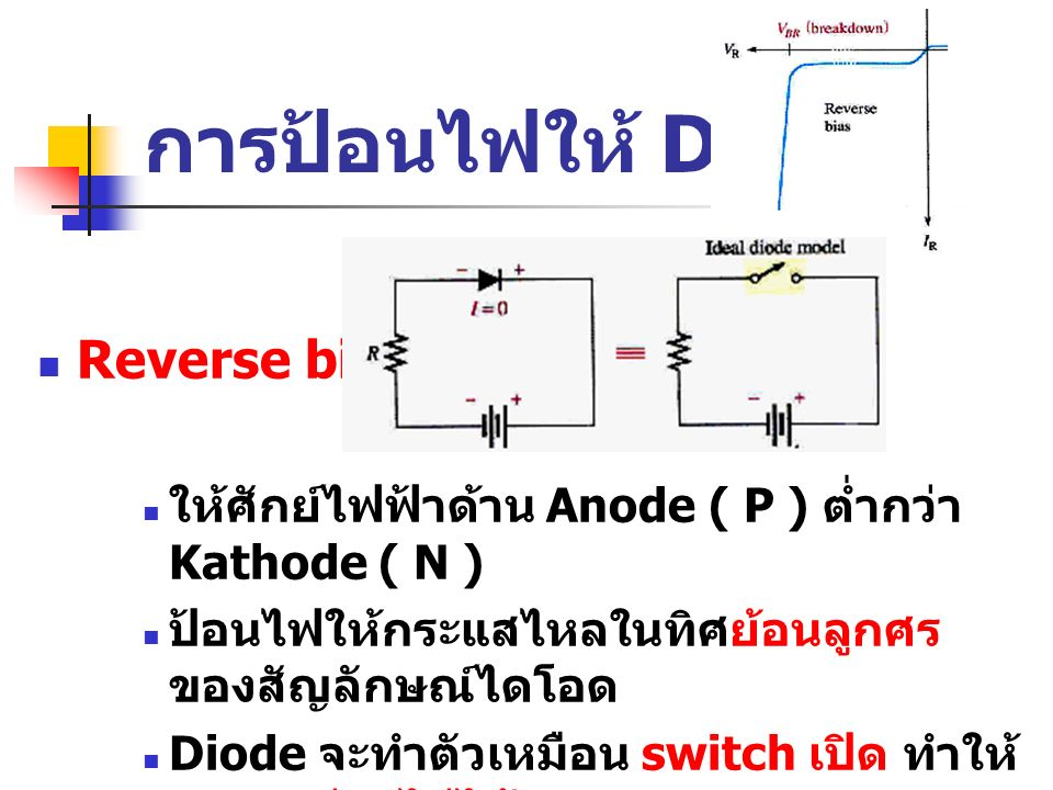 การป้อนไฟให้ Diode Reverse bias: ให้ศักย์ไฟฟ้าด้าน Anode ( P ) ต่ำกว่า Kathode ( N ) ป้อนไฟให้กระแสไหลในทิศย้อนลูกศร ของสัญลักษณ์ไดโอด Diode จะทำตัวเห