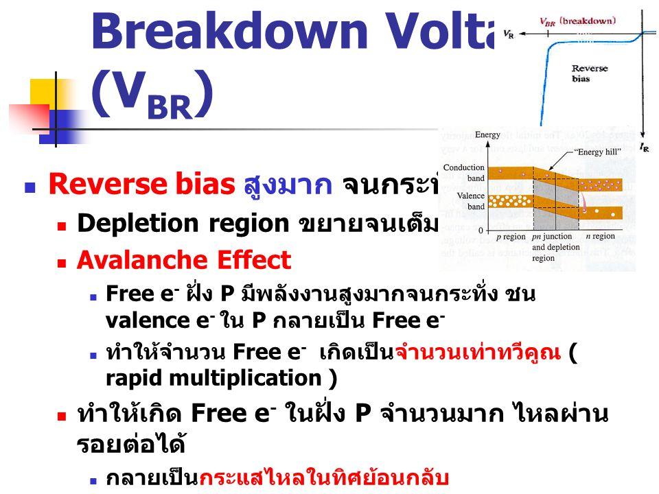 Breakdown Voltage (V BR ) Reverse bias สูงมาก จนกระทั่ง Depletion region ขยายจนเต็มพื้นที่ N และ P Avalanche Effect Free e - ฝั่ง P มีพลังงานสูงมากจนก