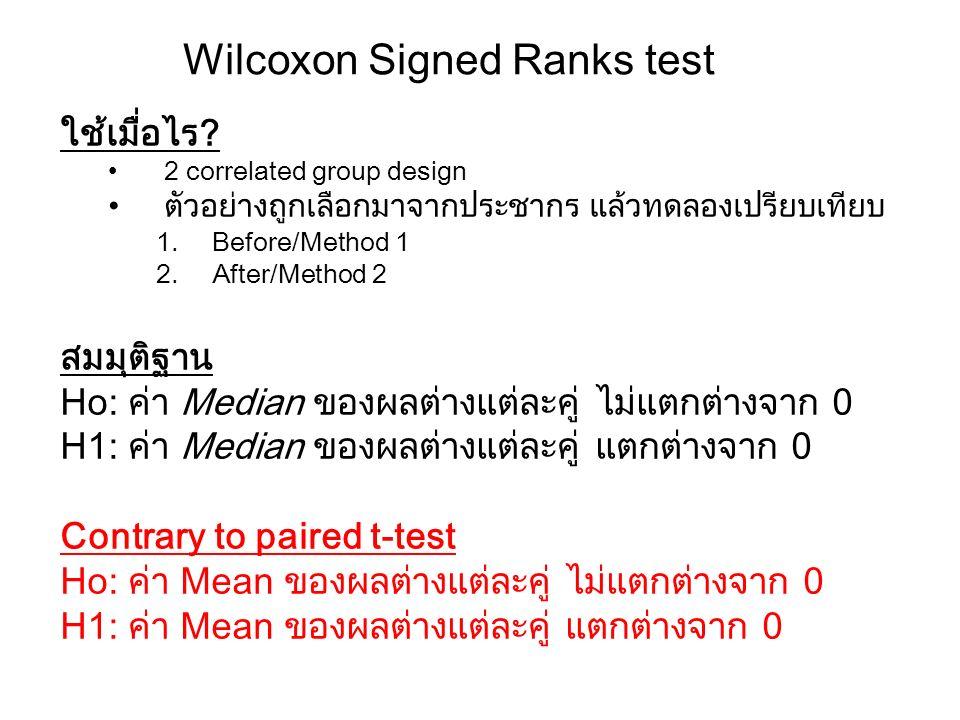 Wilcoxon Signed Ranks test ใช้เมื่อไร? 2 correlated group design ตัวอย่างถูกเลือกมาจากประชากร แล้วทดลองเปรียบเทียบ 1.Before/Method 1 2.After/Method 2