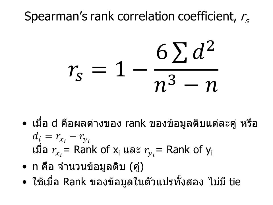 Spearman's rank correlation coefficient, r s