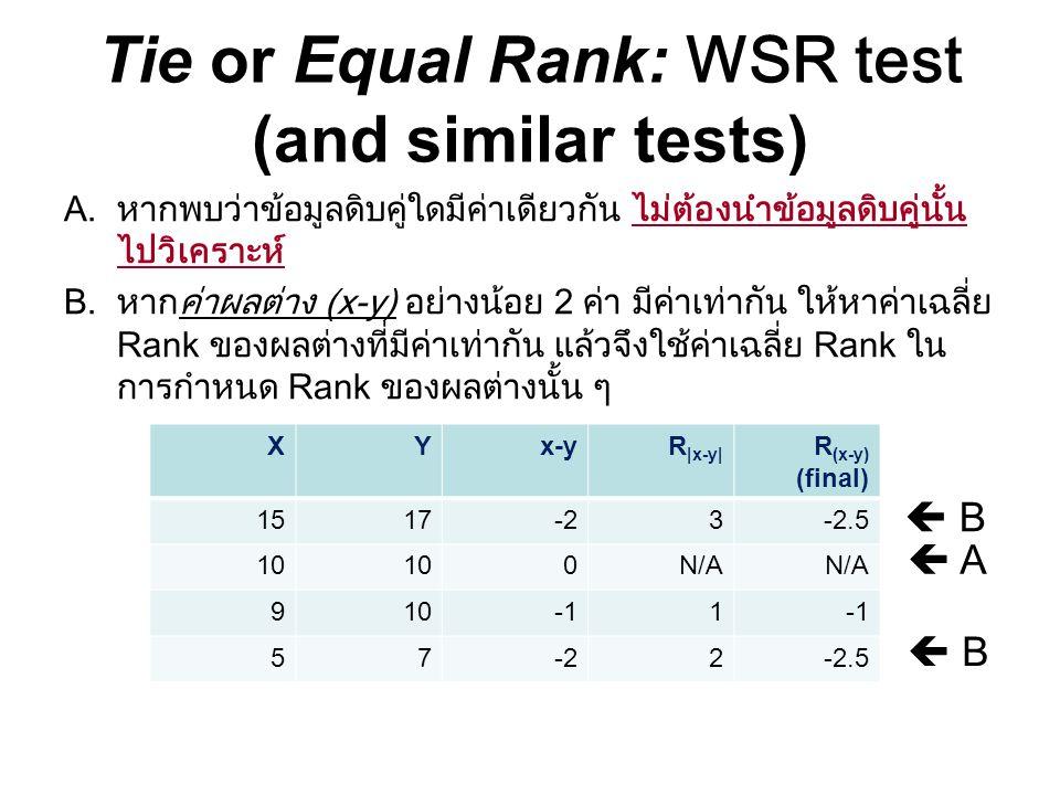 Tie or Equal Rank: WSR test (and similar tests) A.หากพบว่าข้อมูลดิบคู่ใดมีค่าเดียวกัน ไม่ต้องนำข้อมูลดิบคู่นั้น ไปวิเคราะห์ B.หากค่าผลต่าง (x-y) อย่าง