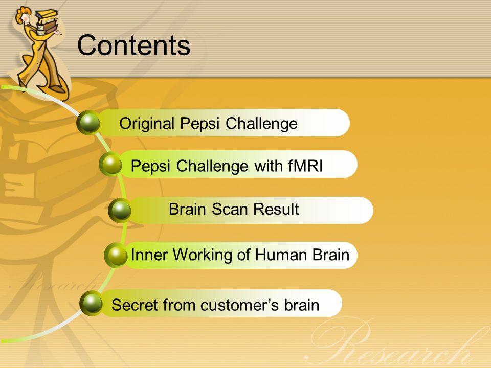 Contents Original Pepsi Challenge Brain Scan Result Inner Working of Human Brain Secret from customer's brain Pepsi Challenge with fMRI