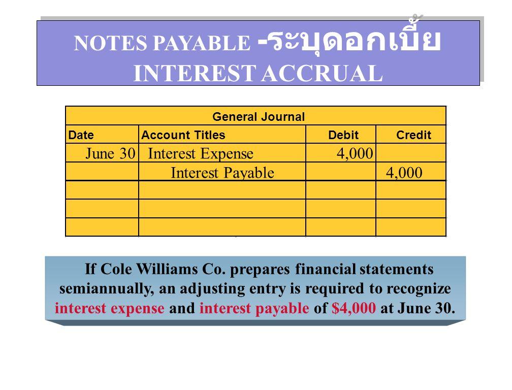 การบันทึกการจ่ายดอกเบี้ยและการตัดบัญชีส่วน ต่ำมูลค่าหุ้นกู้ในสมุดรายวันทั่วไป ณ วันจ่าย ดอกเบี้ย การตัดส่วนต่ำมูลค่าหุ้นกู้ DateAccountDebitCredit July 1 Interest Expense6,472.20 Discount on Bonds Payable 1,472.20 Cash5,000