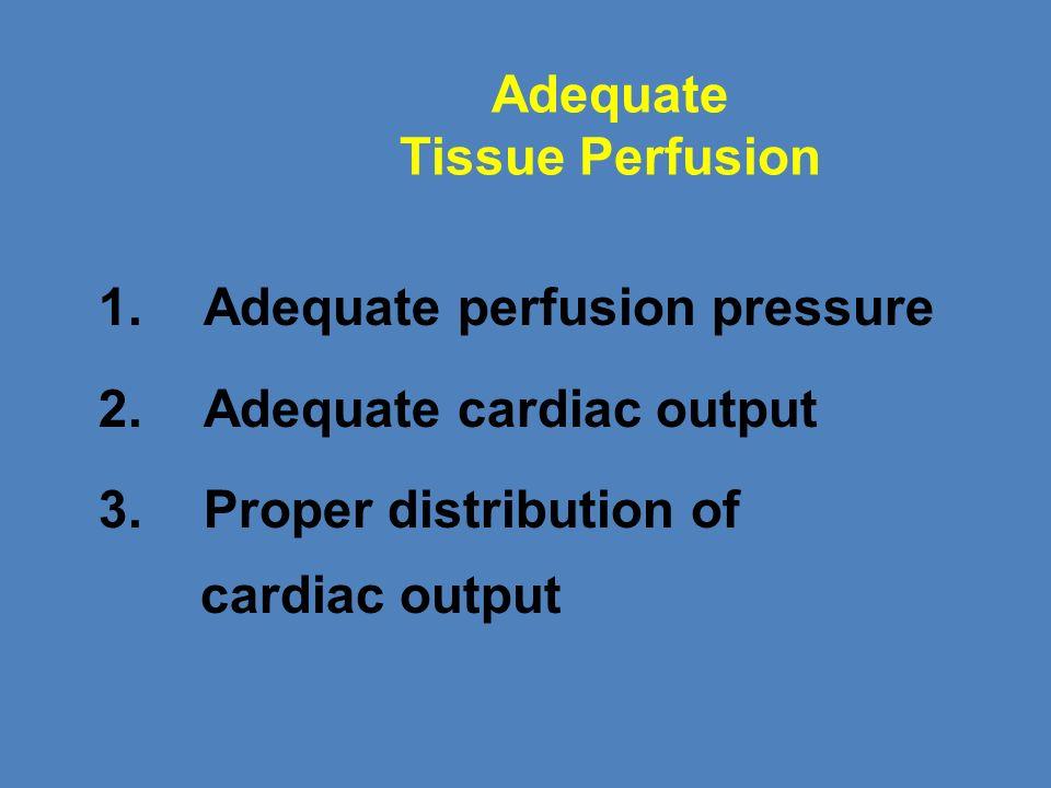 Adequate Tissue Perfusion 1.Adequate perfusion pressure 2. Adequate cardiac output 3. Proper distribution of cardiac output