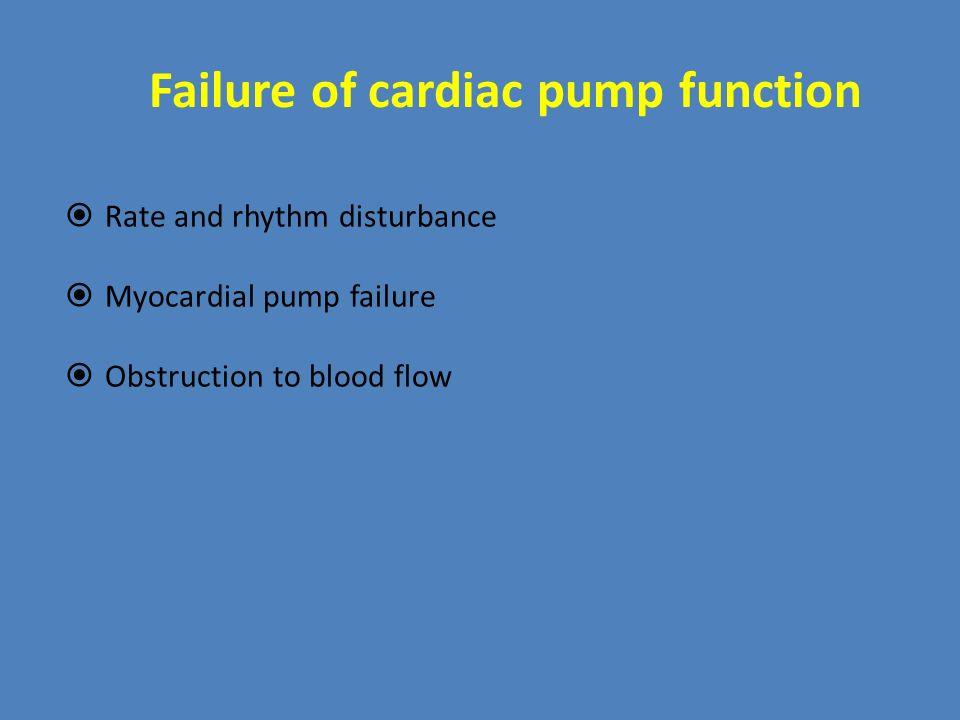 Failure of cardiac pump function  Rate and rhythm disturbance  Myocardial pump failure  Obstruction to blood flow