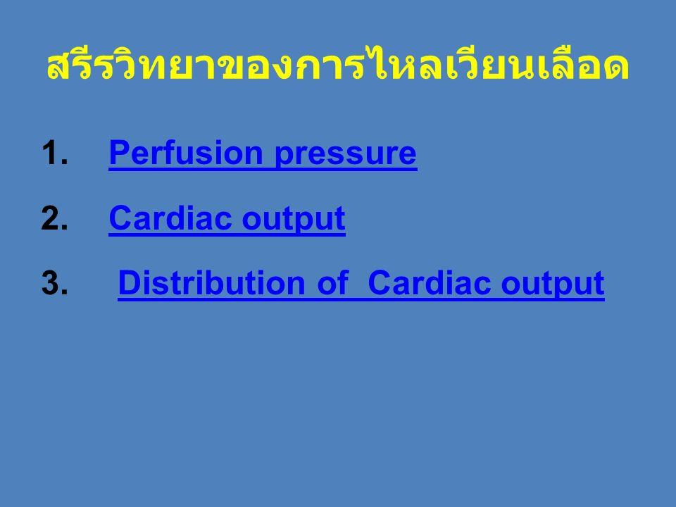 สรีรวิทยาของการไหลเวียนเลือด 1.Perfusion pressurePerfusion pressure 2. Cardiac outputCardiac output 3. Distribution of Cardiac outputDistribution of C
