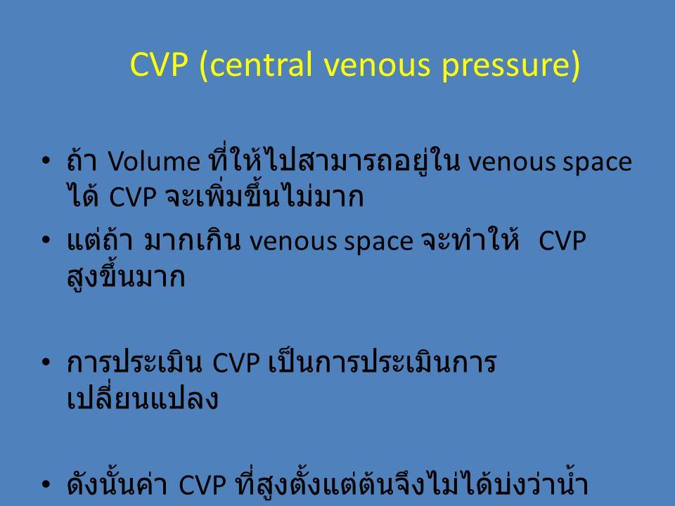 CVP (central venous pressure) ถ้า Volume ที่ให้ไปสามารถอยู่ใน venous space ได้ CVP จะเพิ่มขึ้นไม่มาก แต่ถ้า มากเกิน venous space จะทำให้ CVP สูงขึ้นมา