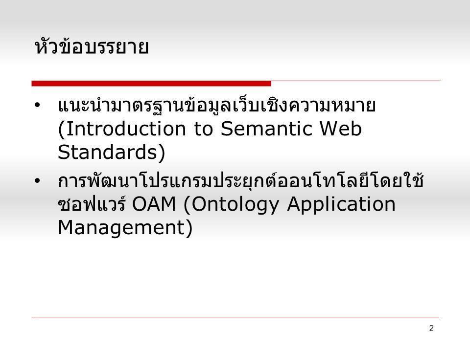 หัวข้อบรรยาย แนะนำมาตรฐานข้อมูลเว็บเชิงความหมาย (Introduction to Semantic Web Standards) การพัฒนาโปรแกรมประยุกต์ออนโทโลยีโดยใช้ ซอฟแวร์ OAM (Ontology
