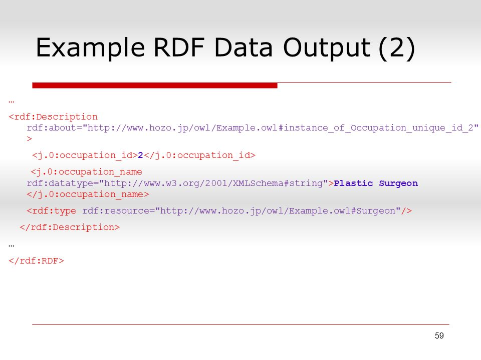 Example RDF Data Output (2) … 2 Plastic Surgeon … 59