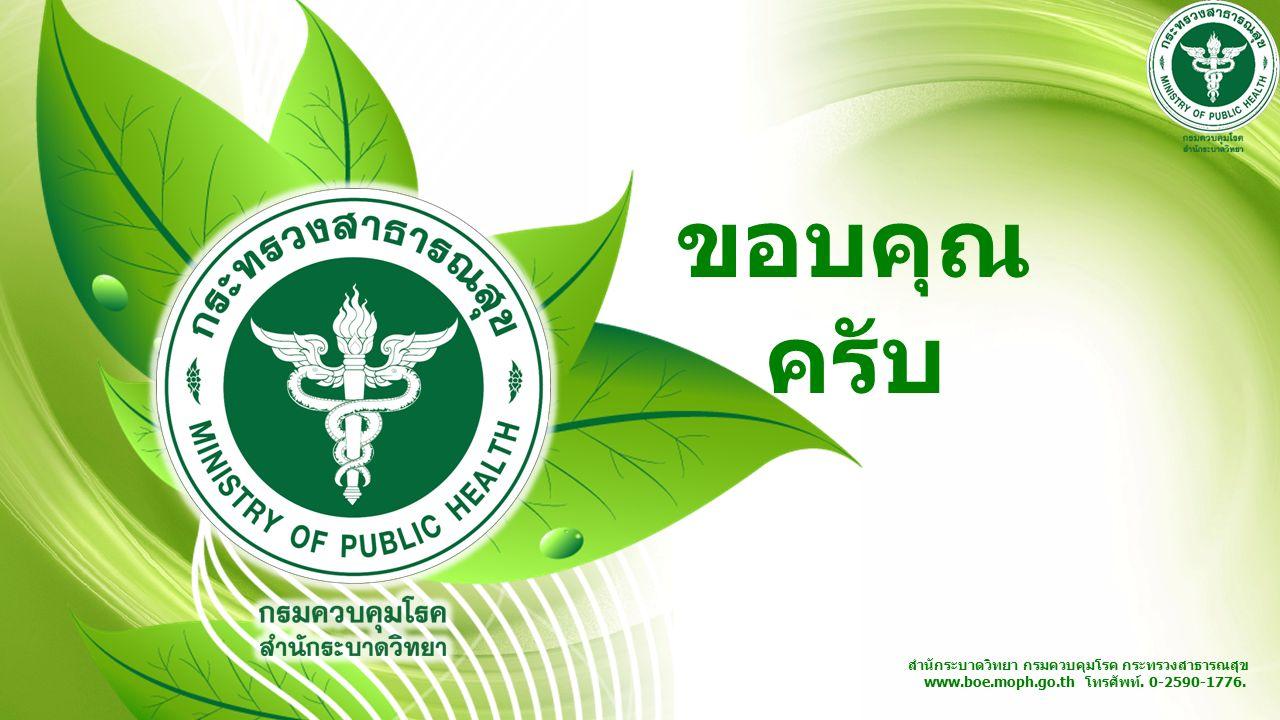 สำนักระบาดวิทยา กรมควบคุมโรค กระทรวงสาธารณสุข www.boe.moph.go.th โทรศัพท์. 0-2590-1776. ขอบคุณ ครับ