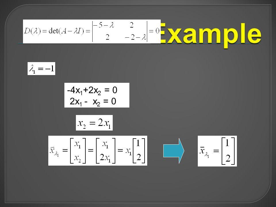 -4x 1 +2x 2 = 0 2x 1 - x 2 = 0