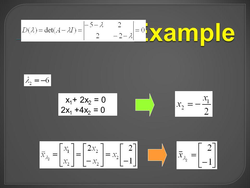 x 1 + 2x 2 = 0 2x 1 +4x 2 = 0