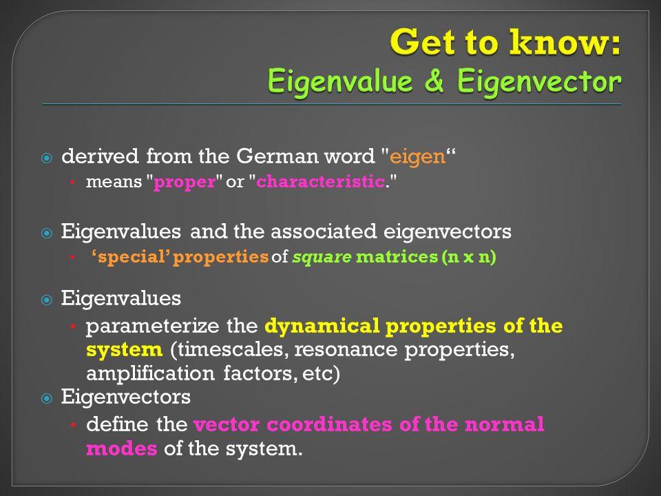 A: a Linear Transformation Square Matrix (n x n) x: Eigenvector (non-zero vector) of A (not unique) ג : Eigenvalue (Scalar value) of A