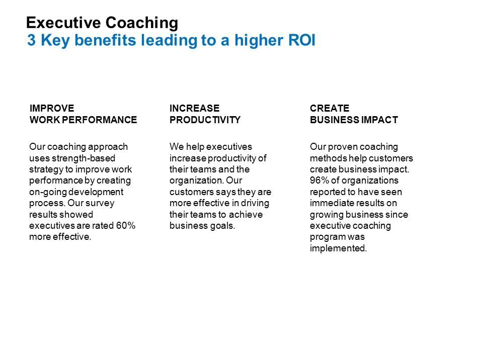 Our proven coaching methods help customers create business impact.