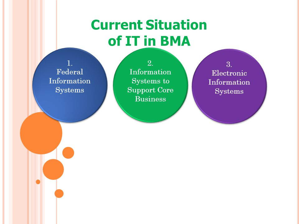 Current Situation of IT in BMA 1. Federal Information Systems 1. Federal Information Systems 2. Information Systems to Support Core Business 2. Inform