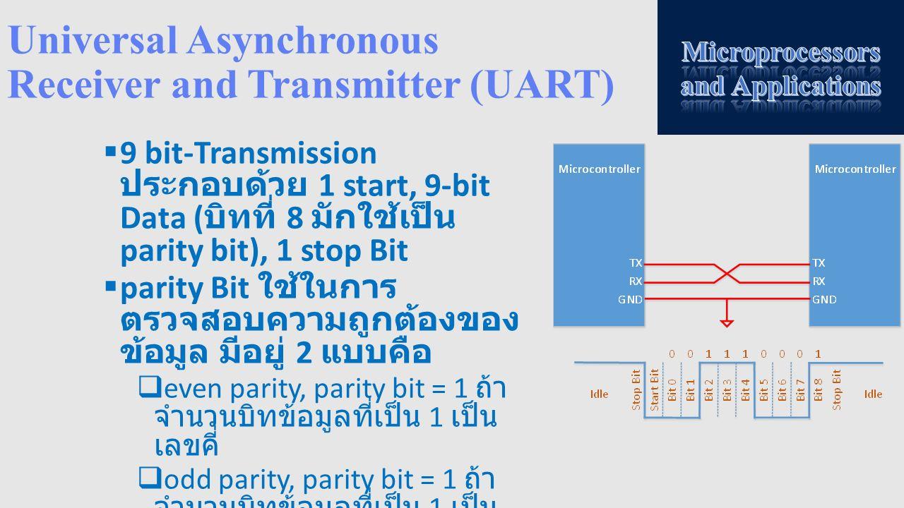 Universal Asynchronous Receiver and Transmitter (UART)  9 bit-Transmission ประกอบด้วย 1 start, 9-bit Data ( บิทที่ 8 มักใช้เป็น parity bit), 1 stop B