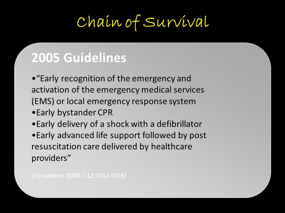 "Chain of Survival ""Early recognition of the emergency and activation of the emergency medical services (EMS) or local emergency response system Early"