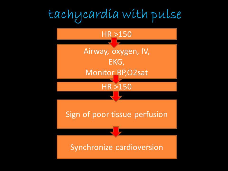 Cardioversion (tachycardia with pulse) เหมือนขั้นตอนการทำ defibrillation เพิ่มเติม ตรงที่ –Need sedation ( valium, morphine) – กดปุ่ม sync (synchronization mode)  เห็น marker on R-wave – เลือก energy ที่เหมาะสม SVT/ Atrial flutter  50-100 J Stable Monomorphic VT  100 J AF  120-200 J Polymorphic VT  defib.