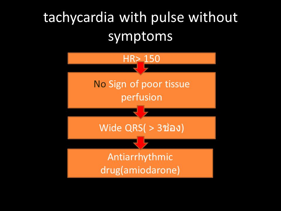 tachycardia with pulse without symptoms HR> 150 No Sign of poor tissue perfusion Wide QRS( > 3 ช่อง ) Antiarrhythmic drug(amiodarone)