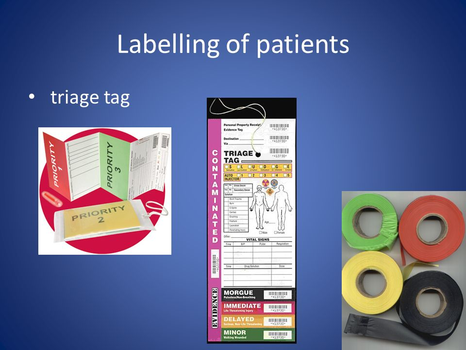 Labelling of patients triage tag
