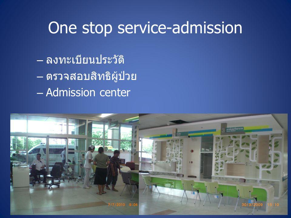 One stop service-admission – ลงทะเบียนประวัติ – ตรวจสอบสิทธิผู้ป่วย –Admission center