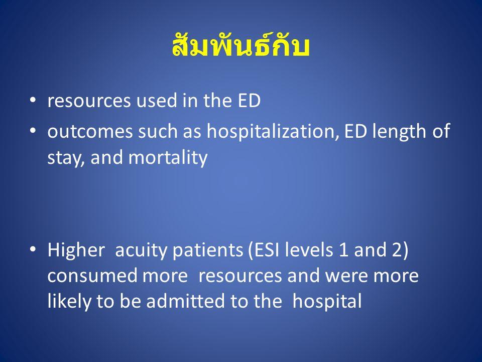 สัมพันธ์กับ resources used in the ED outcomes such as hospitalization, ED length of stay, and mortality Higher acuity patients (ESI levels 1 and 2) co