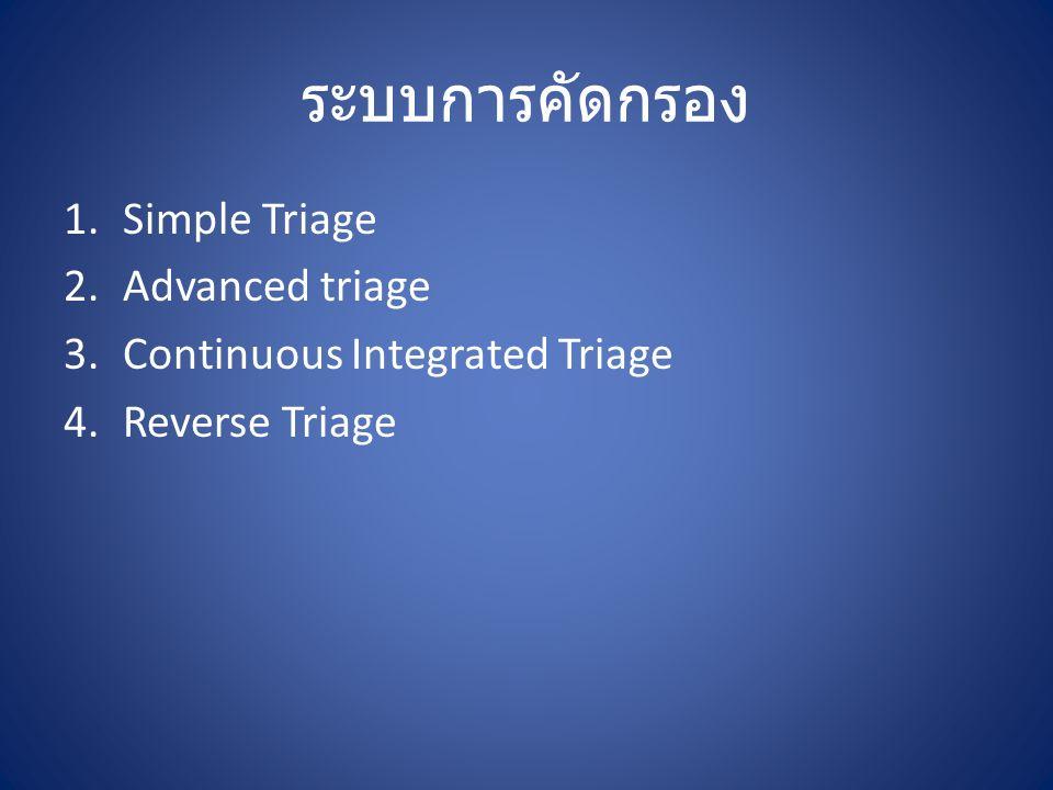 Simple Triage ใช้ในกรณีที่มี อุบัติภัยหมู่ (Mass Casualty Incident) เพื่อที่จะจำแนกผู้ป่วยที่ต้องได้รับการ ดูแลอย่างเร่งด่วนและนำส่งโรงพยาบาลก่อน ออกมาเป็นลำดับแรก S.T.A.R.T.
