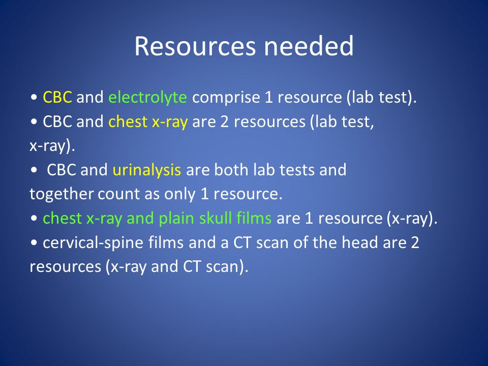 Resources needed CBC and electrolyte comprise 1 resource (lab test).