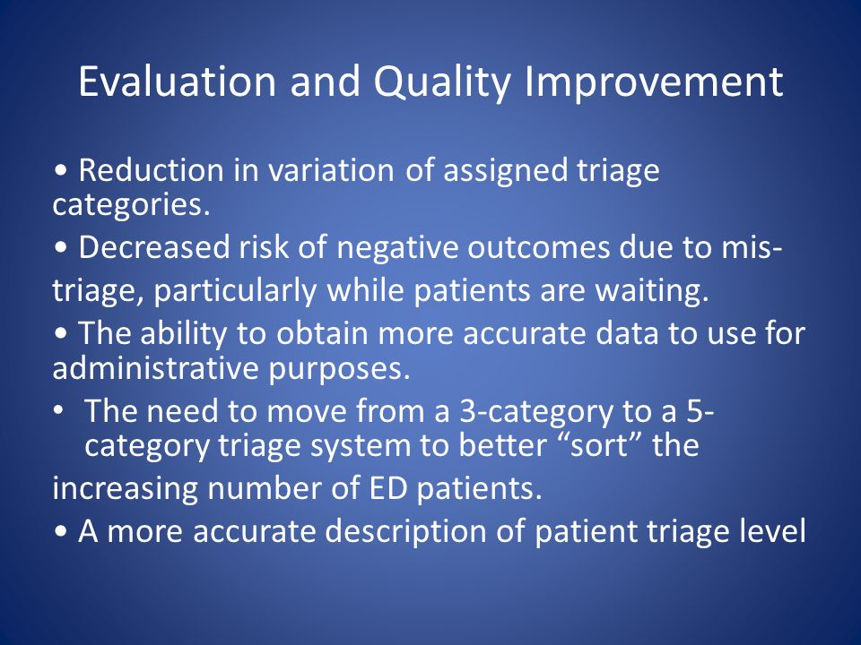 Evaluation and Quality Improvement Reduction in variation of assigned triage categories.