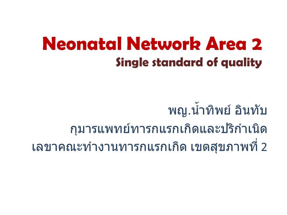 Neonatal Network Area 2 Single standard of quality พญ. น้ำทิพย์ อินทับ กุมารแพทย์ทารกแรกเกิดและปริกำเนิด เลขาคณะทำงานทารกแรกเกิด เขตสุขภาพที่ 2