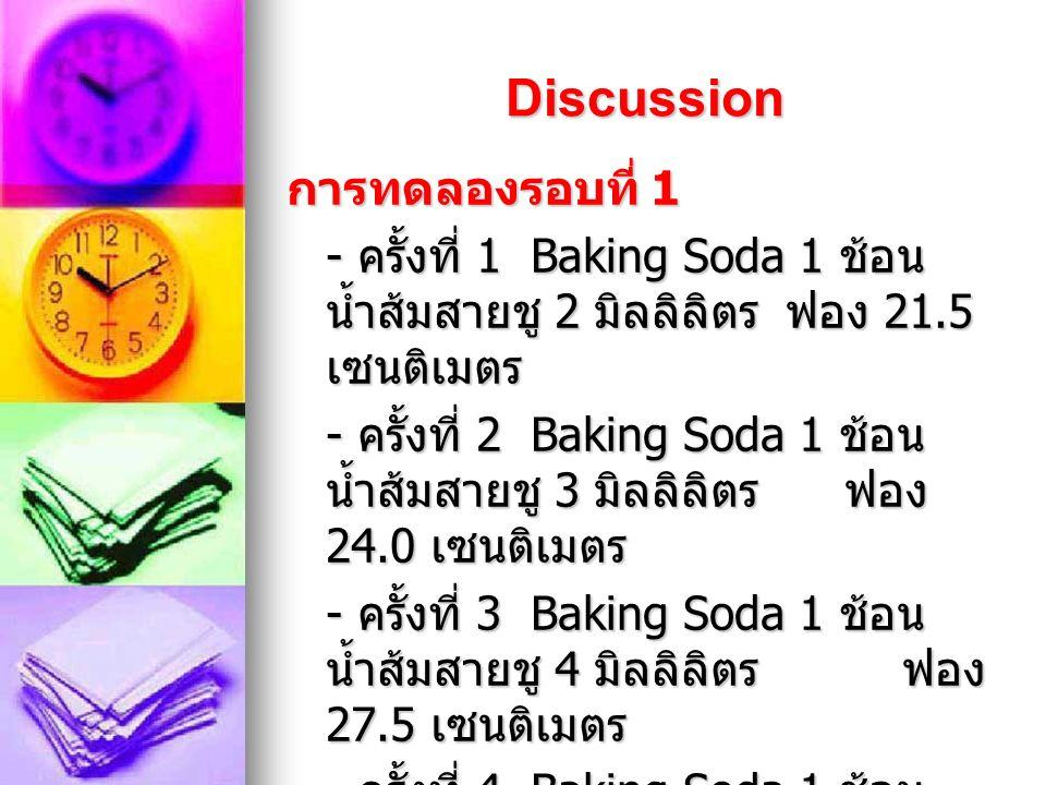 Record result 2 ครั้ ง Baking Soda น้ำส้มสายชูปริมาณ ฟอง 121014.5 เซนติเมตร 2310 17 เซนติเมตร 341018.5 เซนติเมตร 451019.5 เซนติเมตร ปริมาณ Baking soda ที่มากกว่า น้ำส้มสายชู