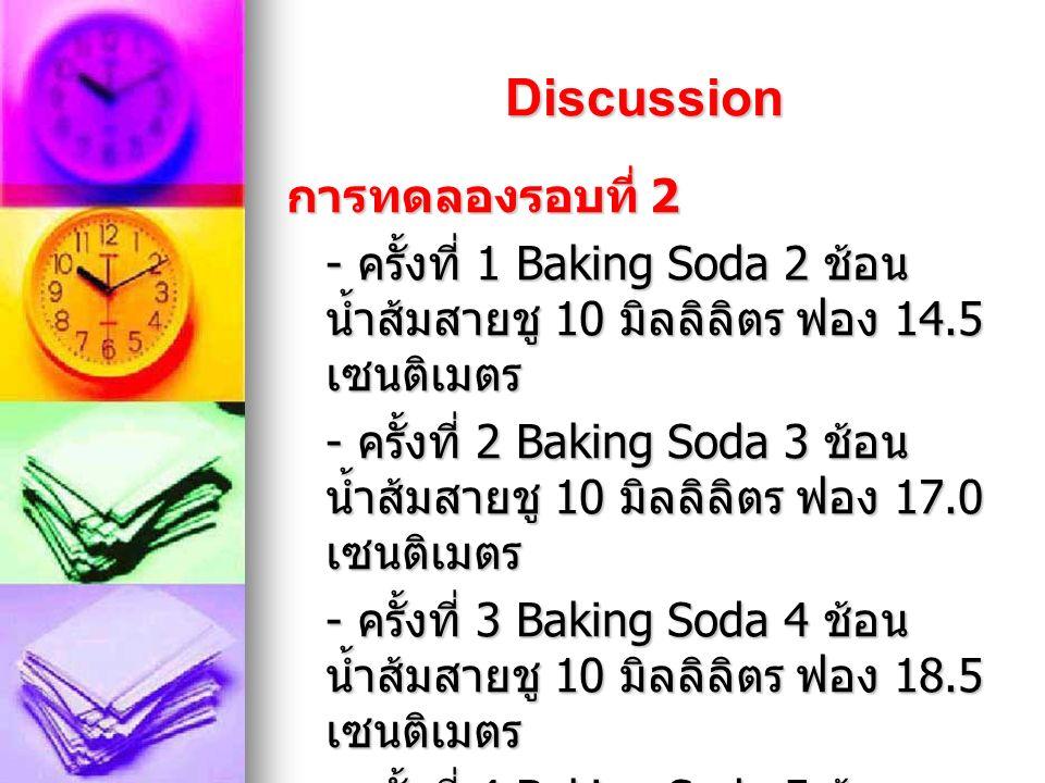 Discussion การทดลองรอบที่ 1 - ครั้งที่ 1 Baking Soda 1 ช้อน น้ำส้มสายชู 2 มิลลิลิตร ฟอง 21.5 เซนติเมตร - ครั้งที่ 2 Baking Soda 1 ช้อน น้ำส้มสายชู 3 มิลลิลิตร ฟอง 24.0 เซนติเมตร - ครั้งที่ 3 Baking Soda 1 ช้อน น้ำส้มสายชู 4 มิลลิลิตร ฟอง 27.5 เซนติเมตร - ครั้งที่ 4 Baking Soda 1 ช้อน น้ำส้มสายชู 5 มิลลิลิตร ฟอง 30.0 เซนติเมตร
