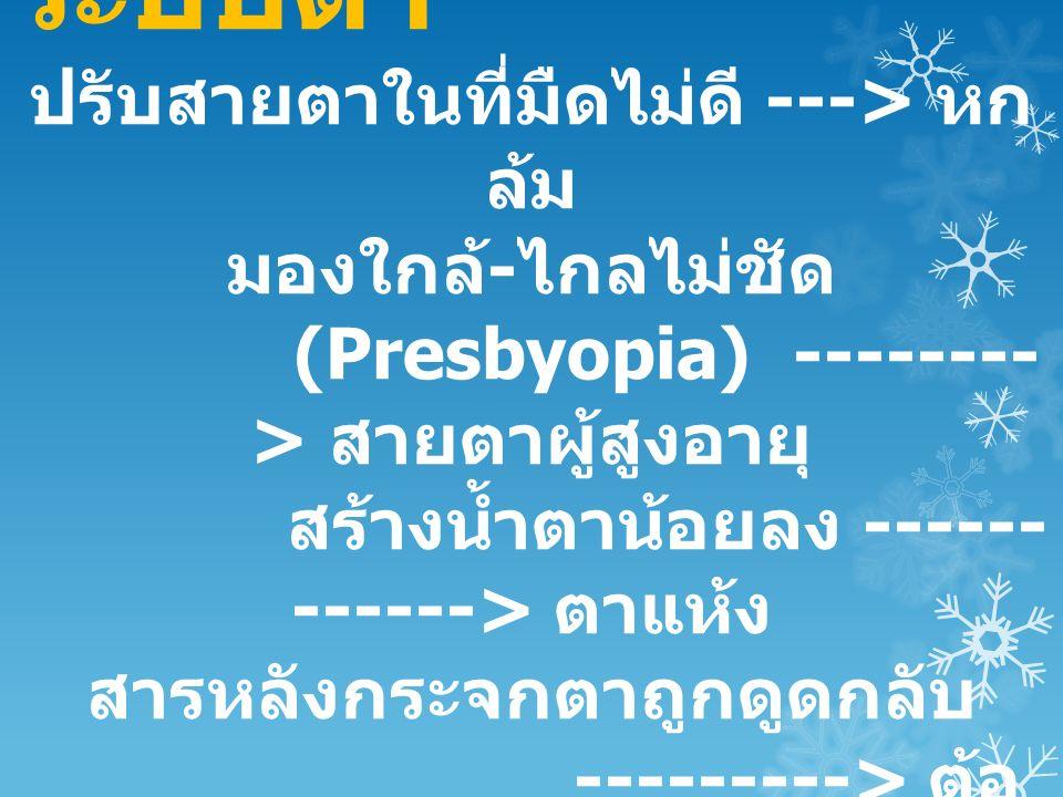 ระบบตา ปรับสายตาในที่มืดไม่ดี ---> หก ล้ม มองใกล้ - ไกลไม่ชัด (Presbyopia) -------- > สายตาผู้สูงอายุ สร้างน้ำตาน้อยลง ------ ------> ตาแห้ง สารหลังกระจกตาถูกดูดกลับ ---------> ต้อ หิน
