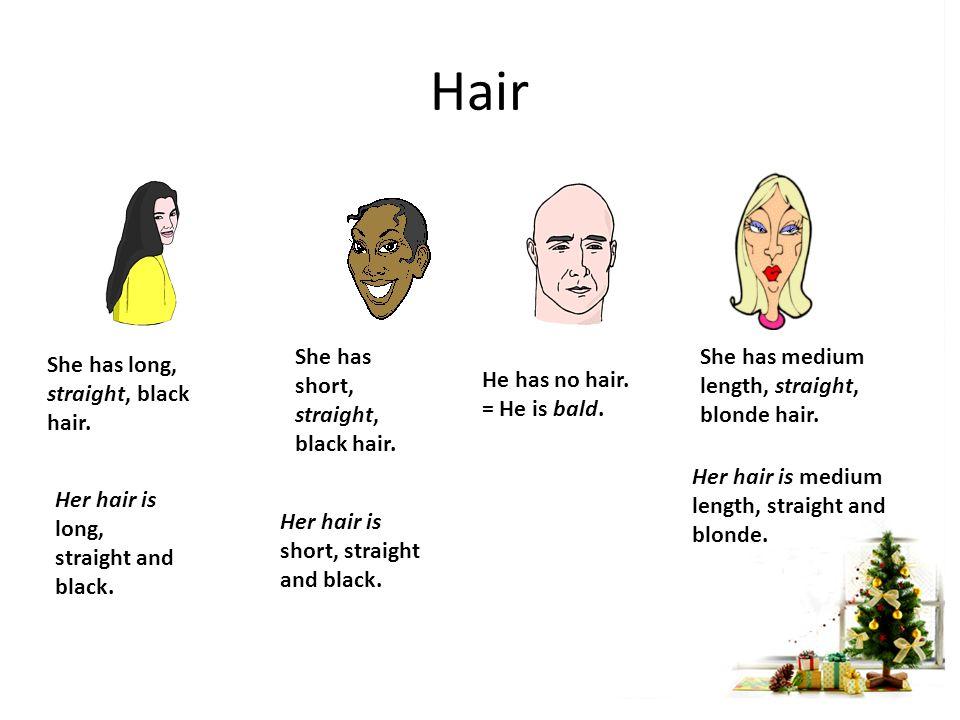 Hair She has medium length, wavy, red hair.Her hair is medium length, wavy and red.