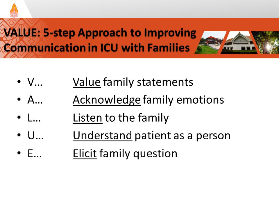 V…Value family statements A…Acknowledge family emotions L…Listen to the family U…Understand patient as a person E…Elicit family question VALUE: 5-step Approach to Improving Communication in ICU with Families