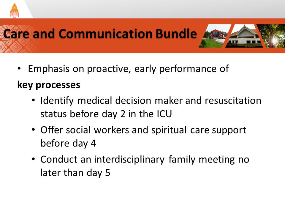 Emphasis on proactive, early performance of key processes Identify medical decision maker and resuscitation status before day 2 in the ICU Offer social workers and spiritual care support before day 4 Conduct an interdisciplinary family meeting no later than day 5 Care and Communication Bundle