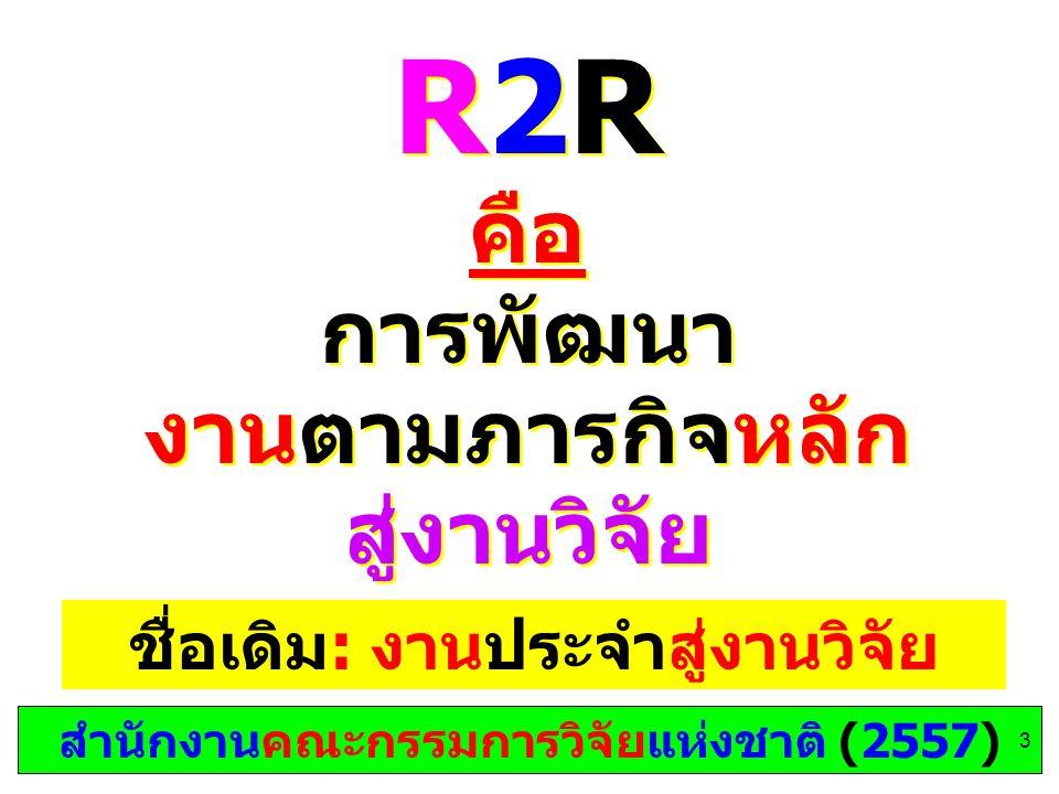 คือ การพัฒนา งานตามภารกิจหลัก สู่งานวิจัย R2R คือ การพัฒนา งานตามภารกิจหลัก สู่งานวิจัย สำนักงานคณะกรรมการวิจัยแห่งชาติ (2557) ชื่อเดิม: งานประจำสู่งานวิจัย 3
