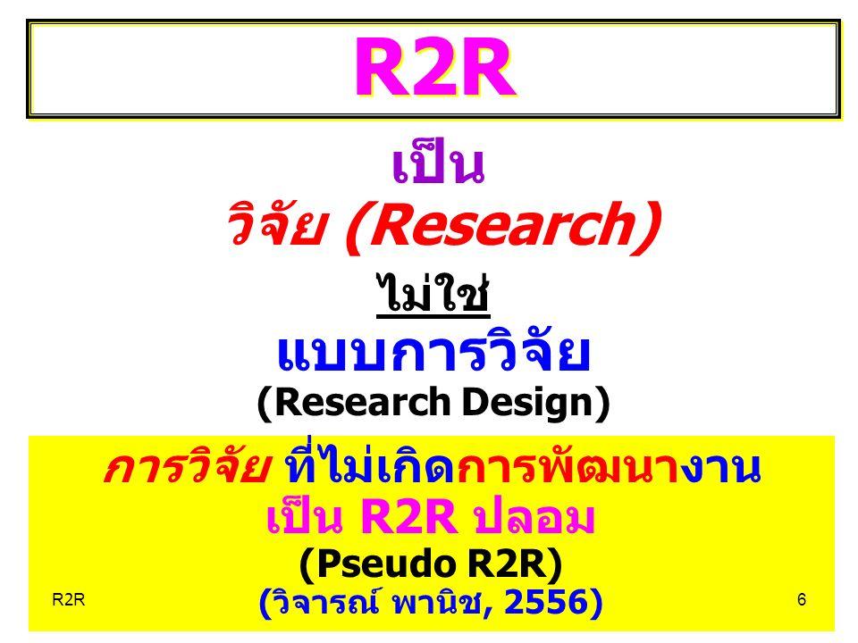 Concept หลัก และ เป้าหมาย ของ R2R Concept หลัก และ เป้าหมาย ของ R2R CI (Continuous Improvement) ในงาน ทุกงาน ที่พวกเราทำ CI (Continuous Improvement) ในงาน ทุกงาน ที่พวกเราทำ คือ R2R7